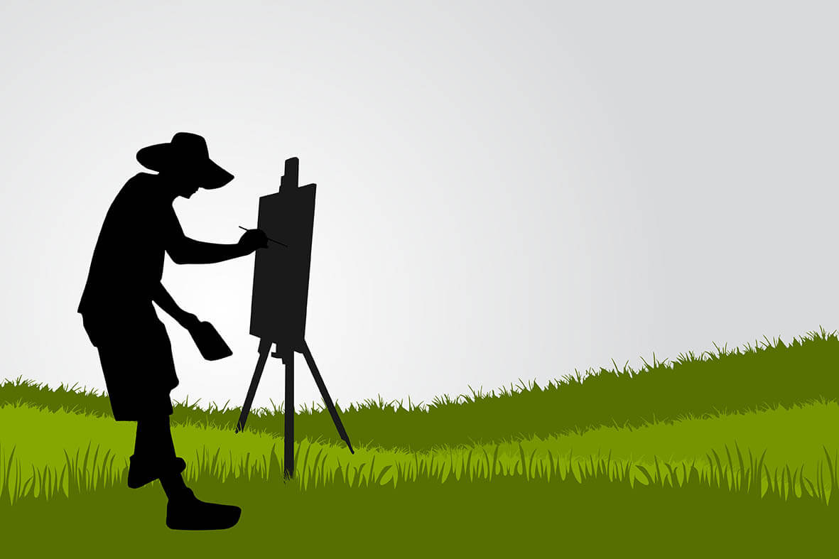 A silhouette of painter painting outside - Brush Cleaner for Painters and Other Painting Tips from The Brush Butler
