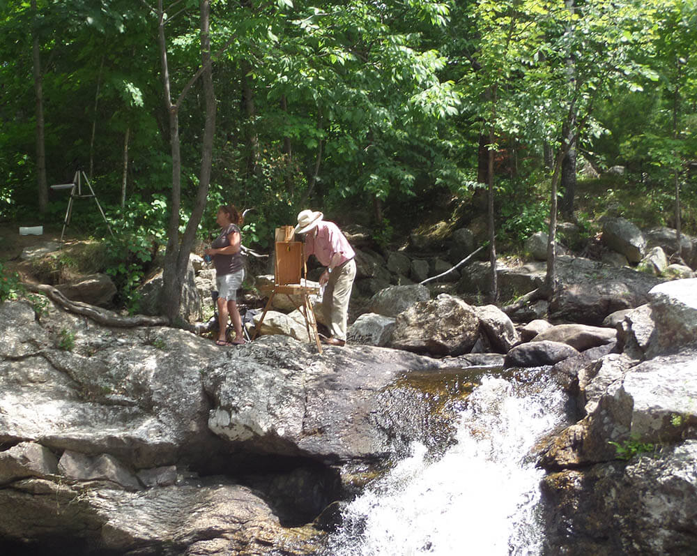Plein air painting near a rushing Maine stream - Brush Cleaner for Painters and Other Painting Tips from The Brush Butler